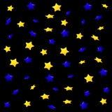 Gelbe und blaue Sterne auf einem schwarzen Hintergrund, nahtloses endloses Muster lizenzfreie abbildung