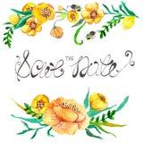 Gelbe und grüne Blumen des Aquarells und Biene Stockfotografie