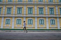 Gelbe und grüne Gebäudewand Stockbilder