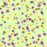 Gelbe und graue Blumen des nahtlosen Musters des Aquarells auf einem grünen Hintergrund Stockfotografie
