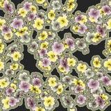 Gelbe und graue Blumen des nahtlosen Musters des Aquarells auf einem schwarzen Hintergrund Stockfotos