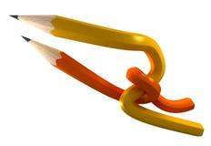Gelbe und orange Bleistifte gesprungen Stockbilder