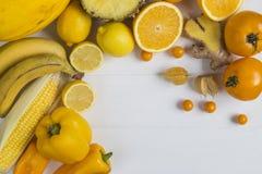 Gelbe und orange Frucht und veg Lizenzfreie Stockfotografie