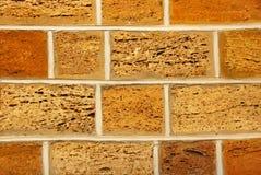 Gelbe und orange Muschelkalkbacksteinmauer als abstraktes backgro Stockbild