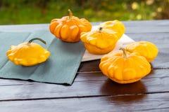 Gelbe und orange Zucchini, kleine Kürbise auf einem Holztisch draußen, Herbsternte, Danksagung und Bauernhoflebensmittelkonzept lizenzfreies stockfoto