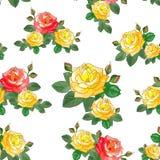 Gelbe und rote Rosen Nahtloses Muster Lizenzfreies Stockbild