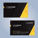 Gelbe und schwarze moderne Visitenkarteschablone Stockfotos