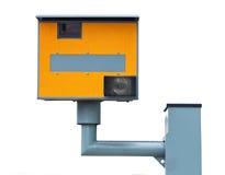 Gelbe Verkehrsdrehzahlkamera getrennt auf Weiß Lizenzfreie Stockfotografie