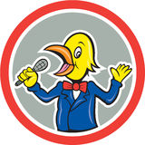 Gelbe Vogel-Gesang-Karikatur Lizenzfreie Stockfotos