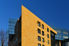 Gelbe Wand und blauer Himmel Stockfotos