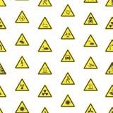 Gelbe warnende Gefahrzeichen-nahtloser Muster-Hintergrund Vektor stock abbildung