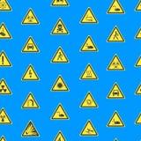 Gelbe warnende Gefahrzeichen-nahtloser Muster-Hintergrund Vektor vektor abbildung
