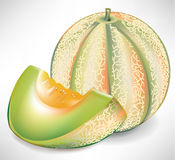 Gelbe Wassermelone mit Scheibe Stockfotos