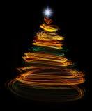 Gelbe Weihnachtsbaum-Lichtmalerei Stockbilder