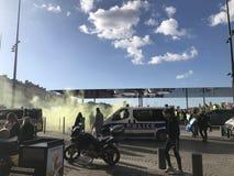 Gelbe wests Demonstration lizenzfreie stockfotografie