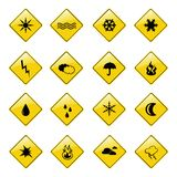 Gelbe Wetterzeichenikonen Stockfoto