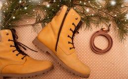 Gelbe Winterschuhe mit Weihnachtsbaumast und -schnee Lizenzfreies Stockbild