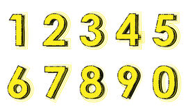 Gelbe Zahlen Stockfotografie