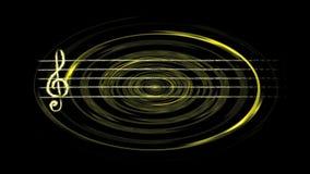 Gelbe zeichnende Linie des glänzenden musikalischen Pentagram, der in Schallwellen eines Ondulate kurvt stock footage