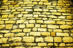 Gelbe Ziegelsteinstraße stockfotos