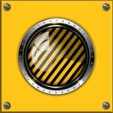 Gelber abstrakter metallischer Hintergrund mit rundem glo Lizenzfreie Stockfotos