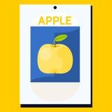 Gelber Apfel mit grünem Blatt auf blauem Hintergrund lizenzfreie abbildung