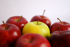 Gelber Apfel umgeben Lizenzfreie Stockbilder