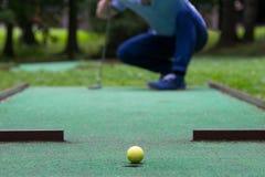 Gelber Ball auf grünem Rasen, vor Minigolftrichter lizenzfreie stockbilder
