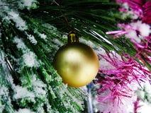 Gelber Ball auf schneebedecktem Baum Lizenzfreie Stockfotos