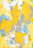 Gelber, blauer, grauer abstrakter handgemalter Hintergrund stockfotografie