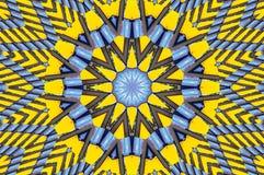Gelber blauer Kaleidoskopmusterarchitektur-Zusammenfassungshintergrund Abstraktes Fractalkaleidoskophintergrund Zusammenfassung F stock abbildung