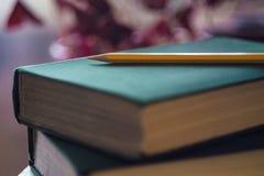Gelber Bleistift auf Gr?nbuch Konzept der Ausbildung Nahaufnahme mit Steigungshintergrund mit Echo Selektiver Fokus stockbilder