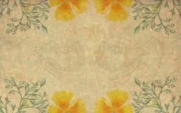 Gelber Blumenhintergrund der Weinlese Stockbild