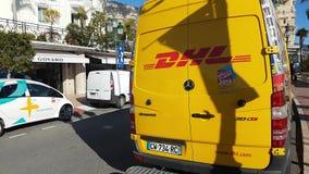 Gelber DHL-Lieferwagen in Monaco stock video footage