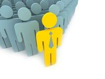 Gelber Führer mit Leuten Lizenzfreies Stockfoto