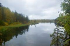 Gelber Fall am See durch Misted-Glas-Herbst lizenzfreie stockbilder