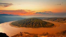 Gelber Fluss, der sich herum, China dreht