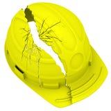 Gelber gebrochener Schutzhelm Getrennt Lizenzfreies Stockbild