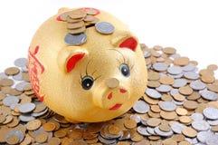 Gelber Geldkasten Stockbilder