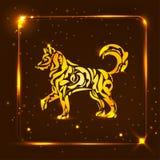 Gelber goldener Hund auf dunklem Hintergrund Symbol des Chinesischen Neujahrsfests Lizenzfreie Stockfotografie