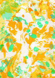 Gelber, grüner, orange abstrakter handgemalter Hintergrund Lizenzfreies Stockbild