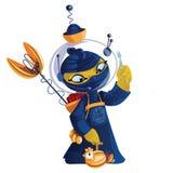 Gelber Hahn mit Dynamit in einem blauen Kimono Lizenzfreies Stockfoto