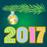 Gelber Hahnsymbolkalender 2017 der Zahl Lizenzfreies Stockbild