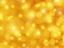 Gelber Hintergrund Bokeh und der Sterne Lizenzfreies Stockfoto