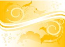 Gelber Hintergrund mit Blättern. Stockbilder