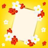 Gelber Hintergrund mit Blume und Feld Lizenzfreie Stockbilder