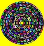 Gelber Hintergrund mit dem abstrakten Bild der Mandala Linien und aus Zahlen bestehend Stock Abbildung