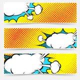 Gelber Hintergrundpop-arten-Explosions-Blasensatz Stockfotos