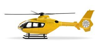 Gelber Hubschrauber Passagierzivilhubschrauber Realistischer Gegenstand auf einem wei?en Hintergrund Auch im corel abgehobenen Be stock abbildung