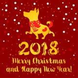 Gelber Hund auf rotem Hintergrund Symbol des Chinesischen Neujahrsfests Vektor Lizenzfreie Stockbilder